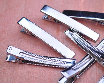 50PCS  60x9mm Silver plated flat metal hair alligator clip,Alligator Clip,Hair Clip, Hair Bow, Set of Clips, Crafting Supplies