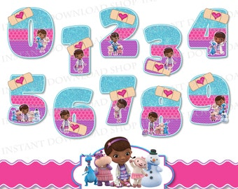 INSTANT DOWNLOWD Doc McStuffins Numbers, Doc McStuffins Clipart, Doc McStuffins Party, Doc McStuffins Clipart, Doc McStuffins Birthday