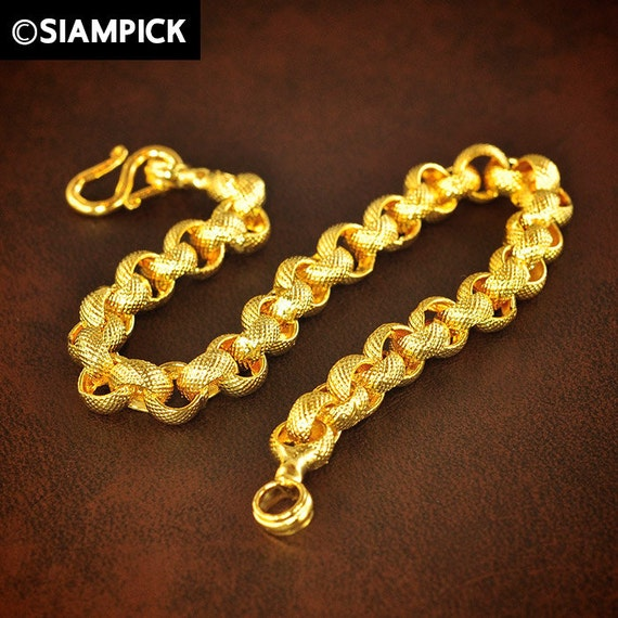 Thai Gold Necklace: Gold Chain Bracelet Thai Jewelry Rolo Chain 24k Gold By