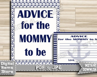 Advice For Parents To Be Blue - Advice For Mommy To Be Blue Nautical - Baby Shower Advice Sign Cards Nautical Blue - INSTANT DOWNLOAD - na1
