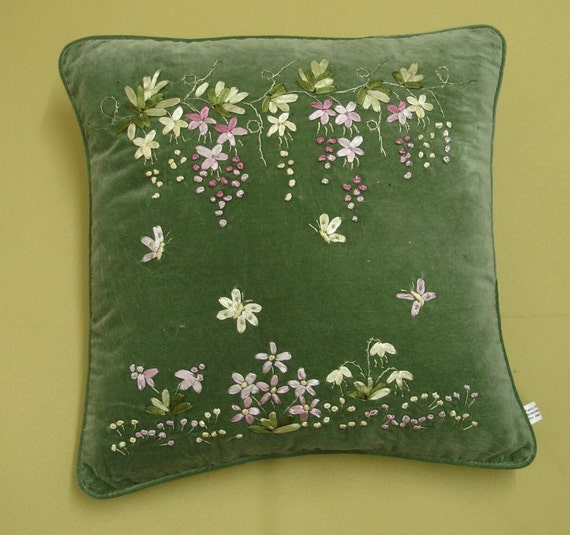 Ribbon embroidery cushion cover design : Green velvet ribbon embroidery wisteria cushion cover cu