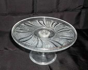 "McKee ""Doric"" Pattern Pedestall Pie Plate over 100 Years Old EAPG"