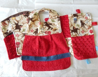 Rodeo style lovey, bib, and burp cloths