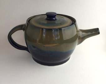 Blue and Olive Ceramic Teapot