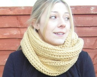 Triple Luxe  Cowl Scarf in Fawn/ Camel Soft Chunky Yarn/Wool