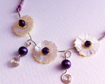 Up-cycled necklace, vintage button necklace, vintage jewellery, re-purposed necklace, mother of pearl, cream, purple, flower buttons
