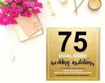 75 DUAL-SIDED Wedding Invitations w/Envelopes
