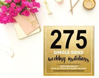 275 SINGLE-SIDED Wedding Invitations w/Envelopes