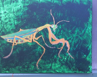Praying Mantis Acrylic Painting