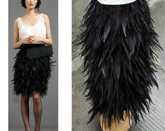 21.65 inches (55cm) Free shipping fully lined knee-length straight hackle feather skirt for party, ball