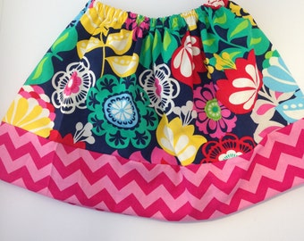 Primary Floral Girls Twirly Skirt