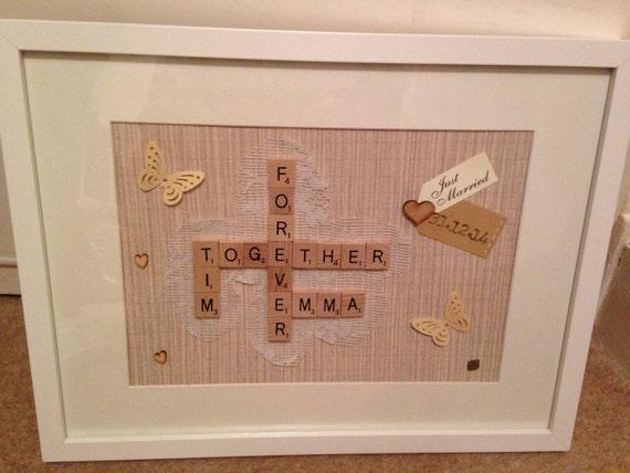 Wedding Art Gifts: Personalised Wedding Gift Scrabble Art