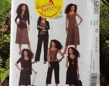 McCalls M5890 sewing pattern ladies separates, dress, top, trousers, pants, cardigan, variations.