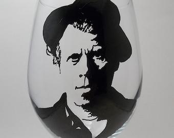 Tom Waits, Hand Painted Glass, Painted Wine Glass
