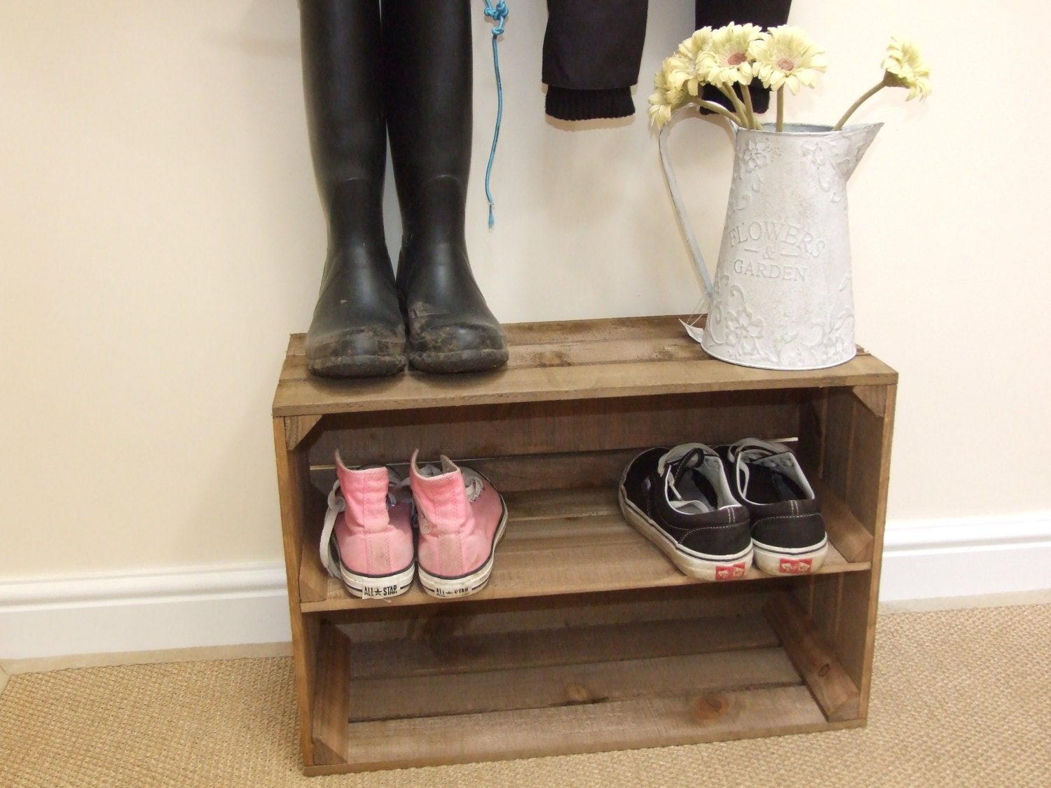 Uncategorized Large Wooden Shoe Rack rustic vintage style wooden shoe rack new handmade apple