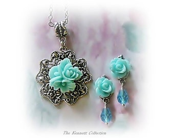 Aqua Blue Rose Bouquet necklace and earrings set, choose your fittings