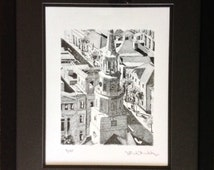 Saint Michael's church PRINT pen and ink architecture drawing framed and matted with free shipping