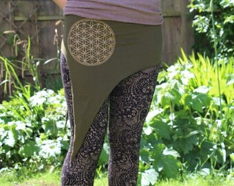 Flower of life Pixie psy hippy festival pointed skirt, into halterneck crop top size 6 to 12 ( 5 colours )