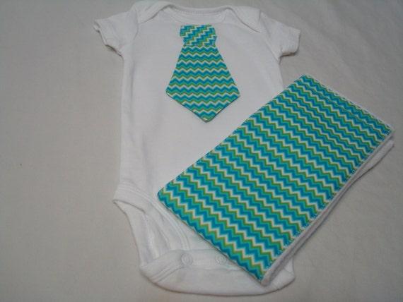 Tie Onesie & Burp Cloth Matching Combo - Turquoise Chevron Print