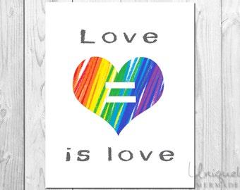 Love is love Print- LGBTQ Family Print- Wall Decor- Two Moms- All Families- Gay/Lesbian- Printable Art