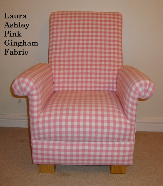 Laura Ashley Pink Gingham Check Fabric Childrens Chair Nursery