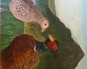 Two pheasants in love