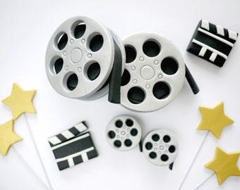 Fondant Movie Themed Cake Topper -  Film Reels, Clapboards, Shooting Stars