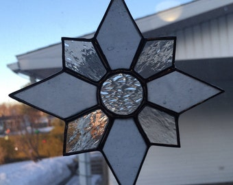 White / Clear Star Stained Glass Suncatcher