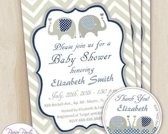 Elephant Baby Shower Boy Invitation | Printable Blue Elephant Invite | Elephant It's a Boy Modern Digital Invitation - Free Thank You