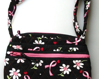 Handmade Quilted Purse with adjustable strap, crossbody bag, shoulder bag