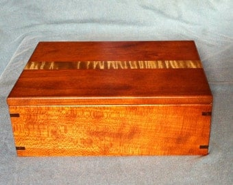 Handmade Cherry Keepsake Box  with a Curly Maple accent
