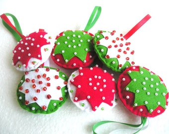 Set of 3 felt ornaments, Christmas tree ornaments, home decor, Felt ornaments