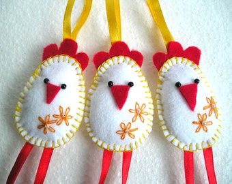 Felt Birds Ornaments, Easter Chickens Felt Ornaments, home decor, Felt Birds, felt easter eggs, Set of 3