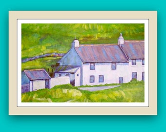 Limited edition wall art, landscape picture of Cornwall, impressionist style print, white cottages painting, Cornish scene signed artwork