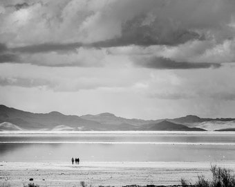 A Desolate Walk - Great Salt Lake Photography - Black and White Print - Utah Photos - Landscape Photo - Wall Art