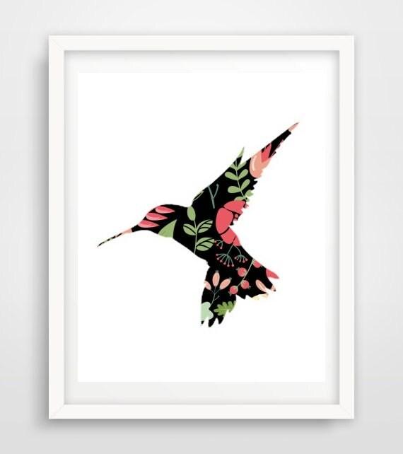 Hummingbird Print Printable Wall Art Flower By