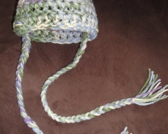 Crochet Baby Beanie Hat with Tassles (Multi Color)
