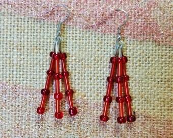 Red, Dangling, Beaded Earrings