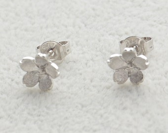 Pair of Dainty Cherry Blossom Stud Earrings in Sterling Silver Simplistic Design Flower Theme