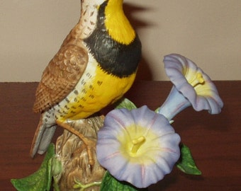 Lenox 1992 Fine Porcelain WESTERN MEADOWLARK with Morning Glory, Garden Bird collection. Perfect condition