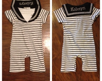 Baby boy black and white sailor outfit