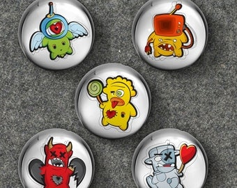 Little Monsters Glass Bubble Magnets - Set of 5 Magnets