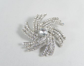 Vintage Clear Crystal Pinwheel Brooch Pin