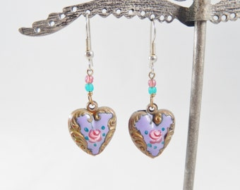 Vintage 80s Purple/Gold Enameled Earrings with Pink Rose