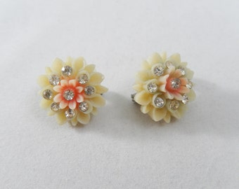 Vintage Celluloid Flower Scatter Pins x2 with Crystals