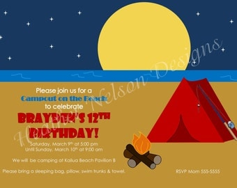 Beach Sleepover Birthday Invitation