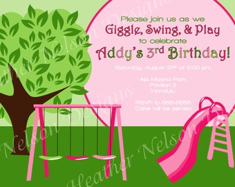 Playground Park Birthday Invitation