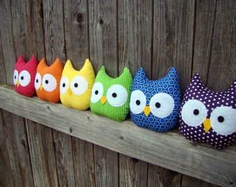Owl plush, mini owls, rainbow, stuffed owl, set of 6