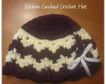 Crochet Ribbon Cinched Hat