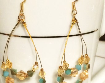 Champagne & Aqua Dangle Earrings